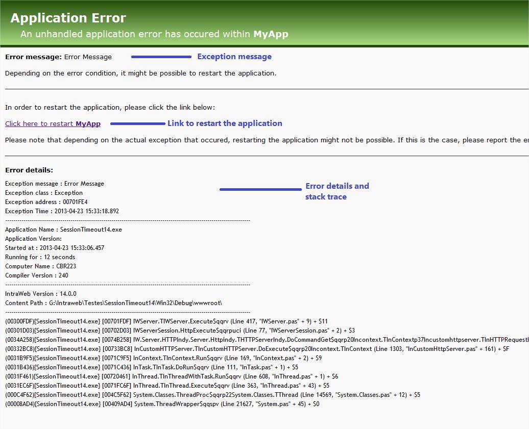 Standard error message page